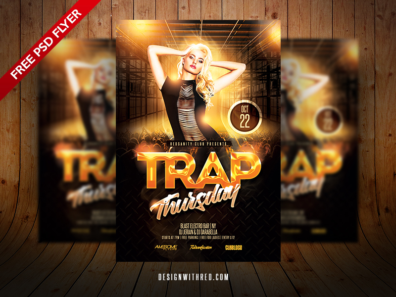 Trap Thursday Flyer Free Psd Template Download Design With Red