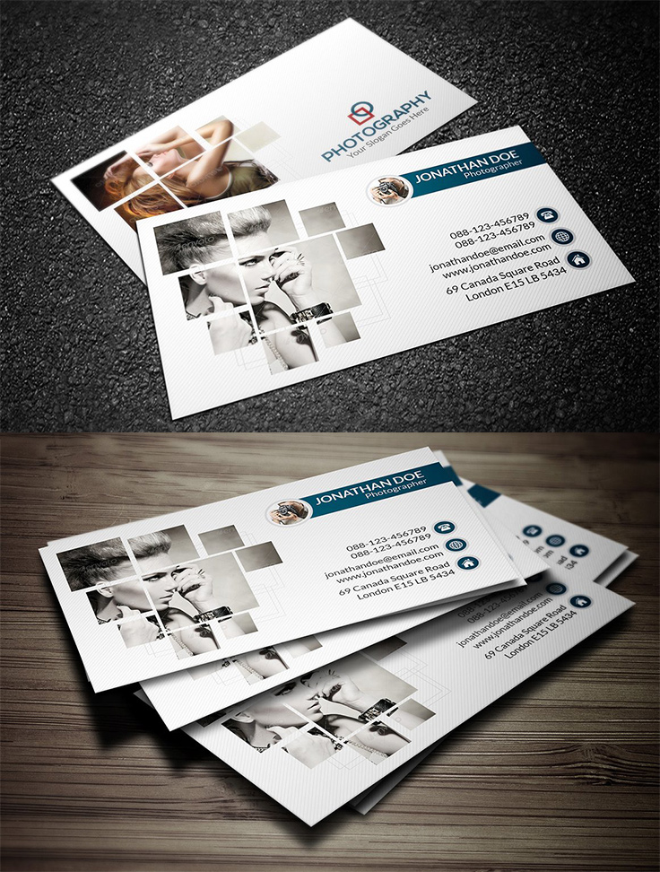 40 photography business card templates inspiration design with red photography business card template 16 reheart Images