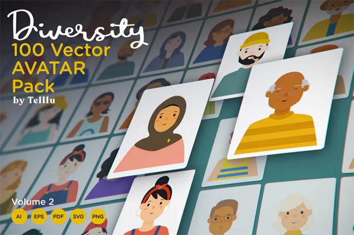 Diversity 100 Vector Avatar Pack v.02 - envato elements freebies