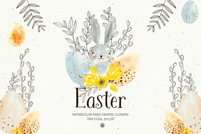 Easter - Watercolor Set - envato elements freebies