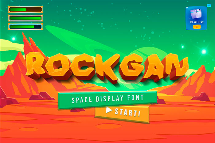 Rockgan - Space Game Display Font