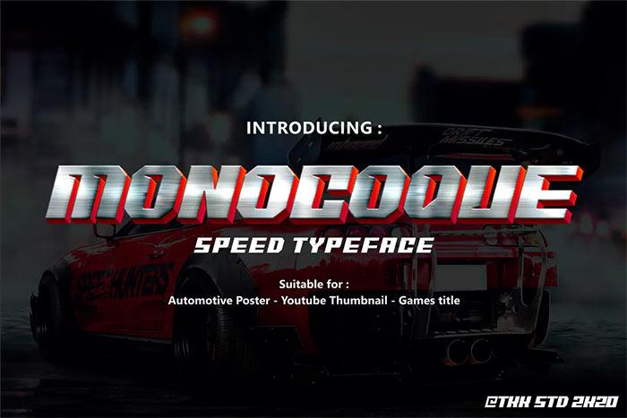 MONOCOQUE - Car Racing Gaming Font